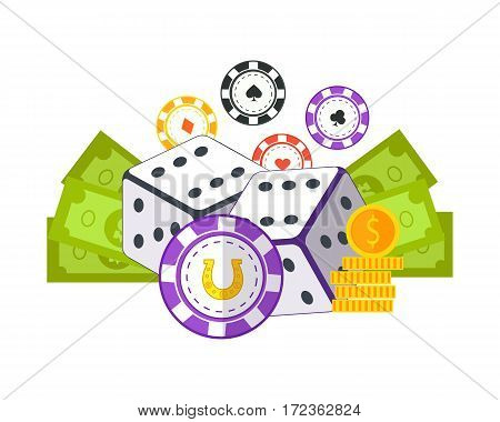 Gambling concept vector in flat style. Casino chips, dice, money. Illustration for gambling industry, sport lottery services, icons, web pages, logo design. Isolated on green background.