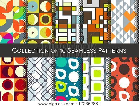 Geometric Abstract Seamless Pattern Collection. Simple Motif Background Set. Colorful Decoration Des