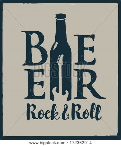 banner for the pub with live music with a bottle beer and guitar