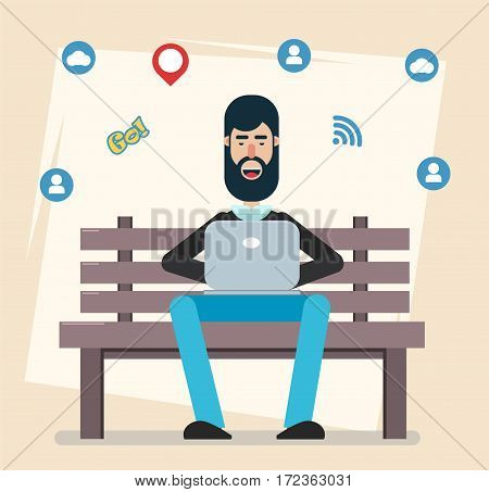 Man sitting in the park on the bench with laptop working playing computer games social networking or texting to his friends. Modern flat style. Design elements. Cute Cartoon Character