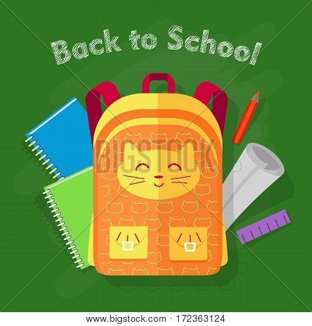 Back to school. Orange-yellow bag with smiled cat and two pockets on green background. Behind bag green and blue notebooks, red pencil, list of paper, violet ruler. Flat desing. Vector illustration