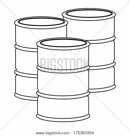 monochrome contour with oil barrels vector illustration