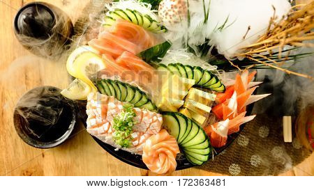 Sashimi Salmon Tamago , japanese food delicious