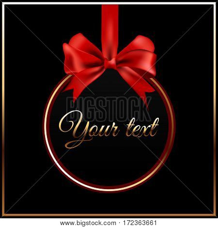 Black round picture or card with golden stroke hanging on red satin ribbon with a bow