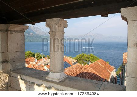 Korcula, Croatia - 20 september 2005: View from Marco Polo's house at the old town of Korcula on Croatia