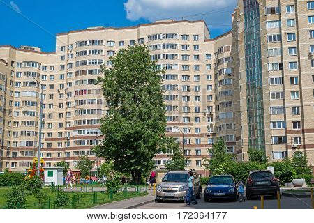 Moscow, Russia - May 28. 2016. Residential brick house in a Zelenograd, Russia