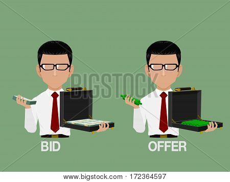 Info graphic character show bid and offer for stock market