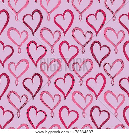 Valentine's Day Violet Hearts seamless pattern on pink background.