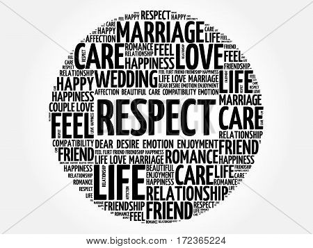 Respect word cloud collage, social concept background