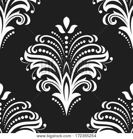 Floral vector black and white ornament. Seamless abstract classic background with flowers. Pattern with repeating elements