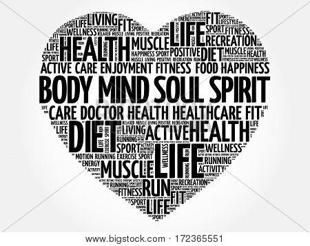Body Mind Soul Spirit Heart Word Cloud