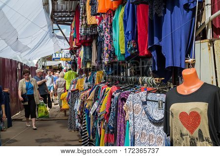 Moscow, Russia - May 28. 2016. Street trade clothing market in a Zelenograd