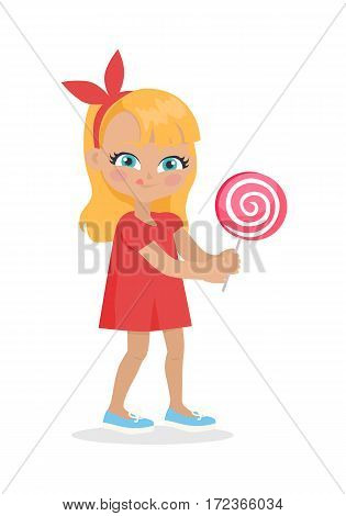 Girl with long hair and red bow on head suck candy. Nice female person with blue eyes. Big lollipop. Cartoon style. Happy chilldhood concept. Kindergarten character. Flat design. Vector illustration