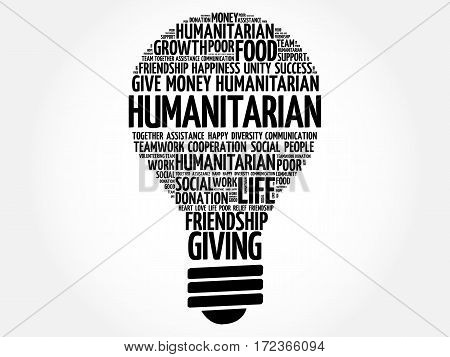 Humanitarian bulb word cloud , collage concept