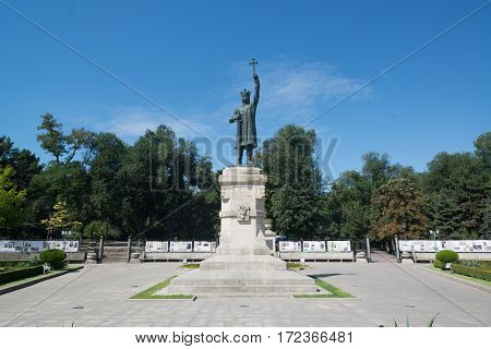 Chisinau, Moldova, circa august 2016: Stephen the Great Monument in Chisinau, Moldova