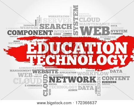 Education Technology word cloud collage, technology business concept background