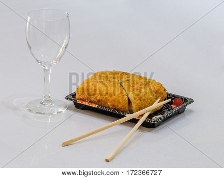 Sushi Toast On Tray, Chopsticks And Glass For Wine