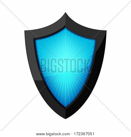 Glossy shield icon. Shield with rays inside isolated on white background. Vector illustration.