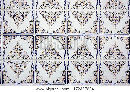 Portuguese traditional tiles Azulejo in Lisbon. Portugal tile is one of the traditional cultural elements that the Portuguese are very proud of