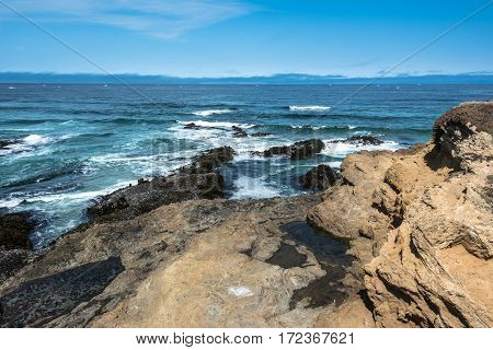 The ocean along the coast of Fort Bragg, California
