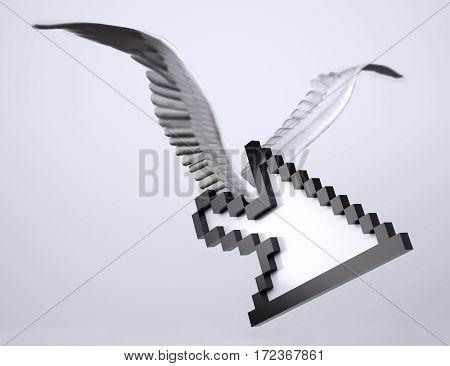 arrow pointer symbol with bird wings 3d illustration