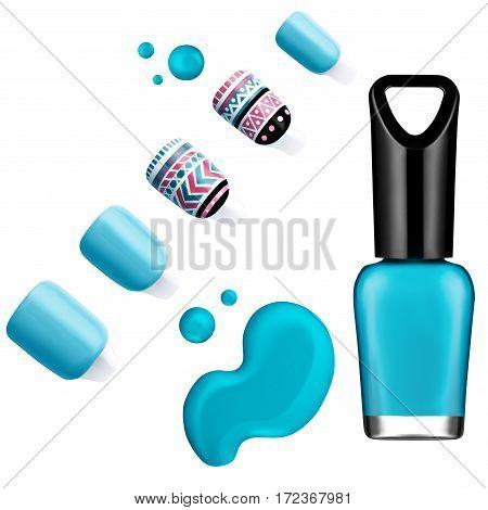Turquoise nail polish, brush, sample, isolated on white background