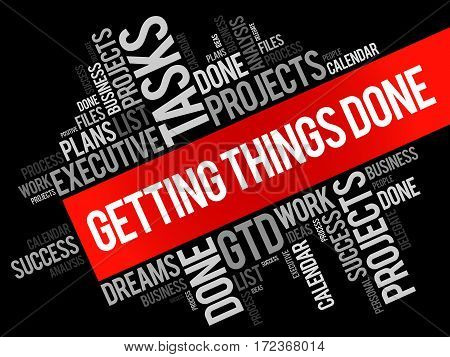 Getting Things Done Word Cloud Business Concept Background