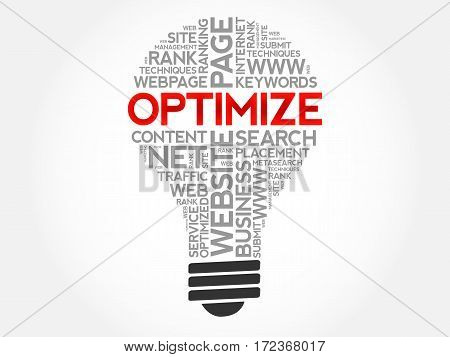 Optimize word cloud collage, technology business concept background