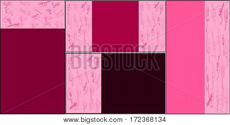 set of four cards of different formats with colored fragments of inserts with pink leaves and veins