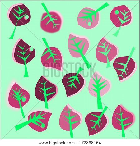 Abstract green background with pink and maroon leaves with green veins and a drop of dew scattered around the figure