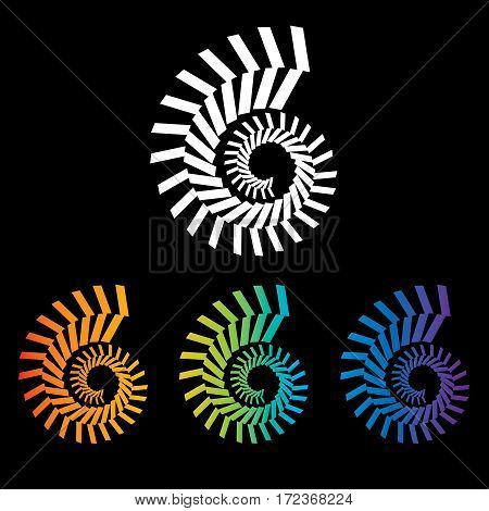 Four colorful nautilus spirals to choose from in this graphic
