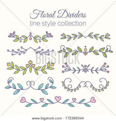Flourishes. Hand drawn dividers set. Line style decoration. Ornamental decorative elements for notes and bullet journal. Vector ornate elements design.