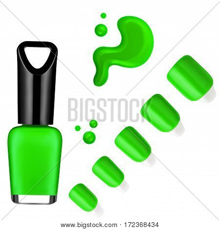 green color nail polish, brush, sample, isolated on white background