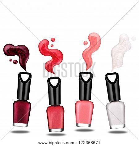 colored nail polish, brush, sample, isolated on white background