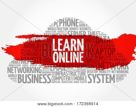 Learn Online word cloud collage, technology business concept background