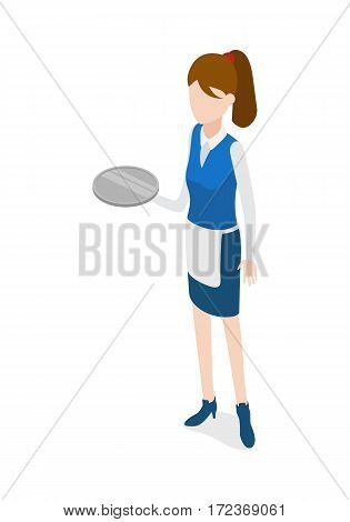 Waiter isolated. Woman in waiter uniform holding round metal grey tray. Full length portrait of standing waitress. Girl wearing blue skirt, shoes and white apron, shirt. Flat design. Vector