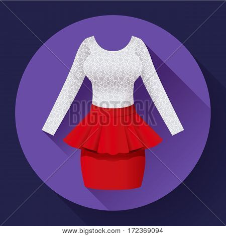 Fashionable womens clothing dress with Baska red skirt and lacy blouse.