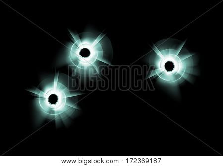 Vector Green Blue Broken Glass Window with three Bullet Holes Close up on Dark Black Background