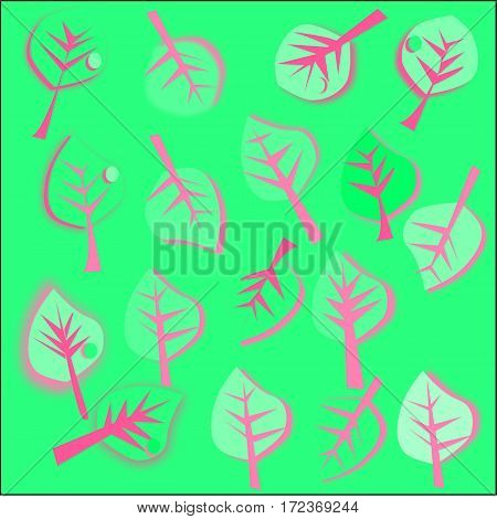 abstract green background green leaves with pink and pink streaks stroke and a drop of dew scattered around the figure