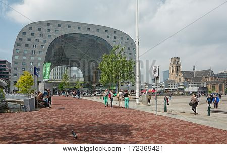 Rotterdam, Netherlands - May 26, 2016: The Market Hall is a residential and office building with a market hall underneath.