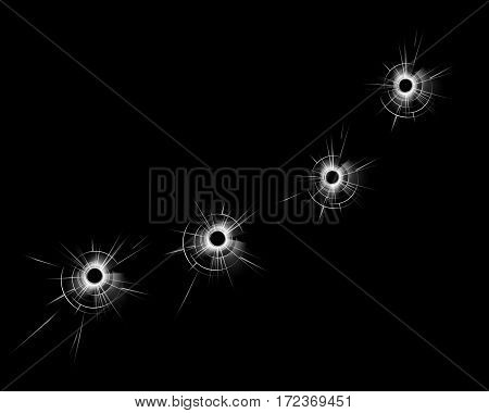 Vector Transparent Broken Glass Window with Four Bullet Holes Close up Isolated on Dark Black Background