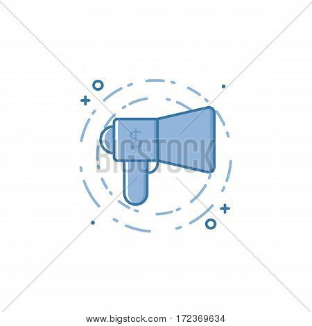 Vector business illustration of blue megaphone icon in linear style. Graphic design concept of digital Marketing. Outline object. Use in Web Project and Applications. Stock line object.