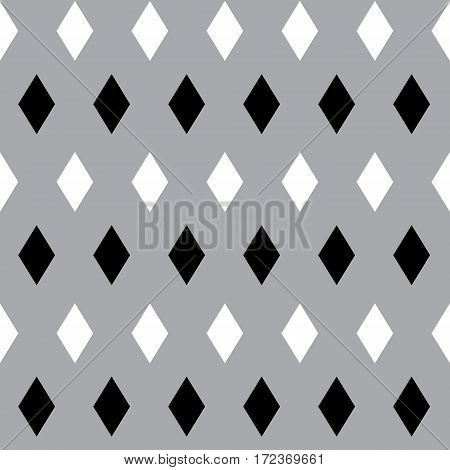 Seamless pattern with black and white rhombus on grey background