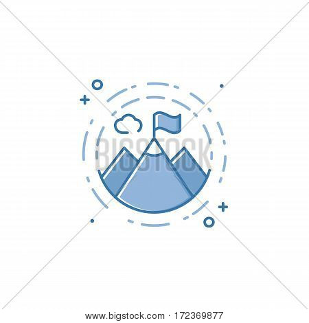 Vector business illustration of blue mountains icon in linear style. Graphic design concept of leadership, achievement success, mission symbol. Outline object. Use in Web Project and Applications.