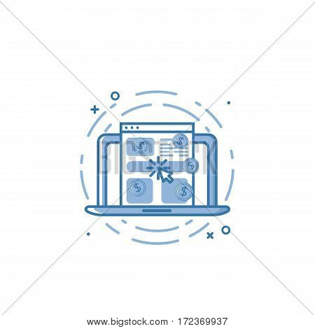 Vector illustration of flat bold line laptop and screen with browser icon. Graphic design concept of pay per click. Use in Web Project and Applications. Blue outline isolated object.