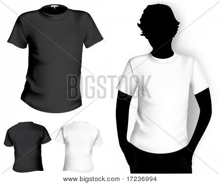 Men's white and black ( back and front) t-shirt template with human body silhouette. poster