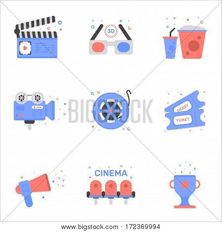 Vector illustration of cinema icon set in flat linear style Graphic design concept of clapper board, 3D glasses, tickets, cine-film, video camera, mouthpiece, popcorn and soda, award cup, movie chairs
