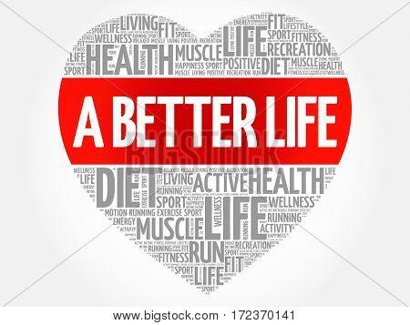 A Better Life Heart Word Cloud