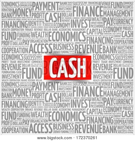 CASH word cloud collage, business concept background