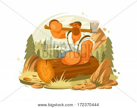 Lumberjack beard and ax in hand. Brutal man in woods. Vector illustration